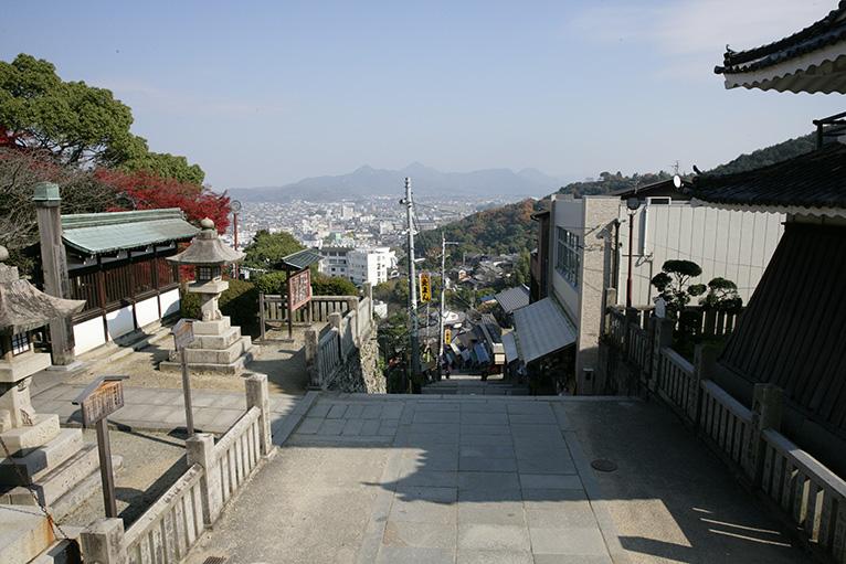 土産店や琴平の町が見下ろせる。