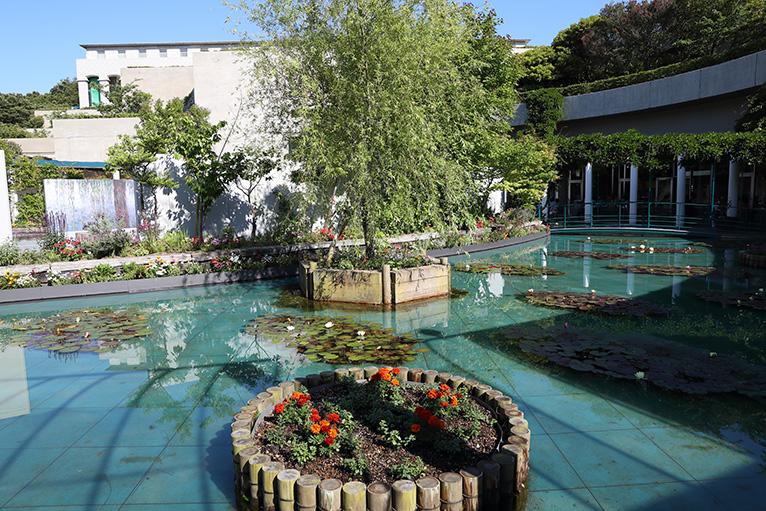 屋外のモネ「大睡蓮」を囲み「モネの庭」をイメージした庭園