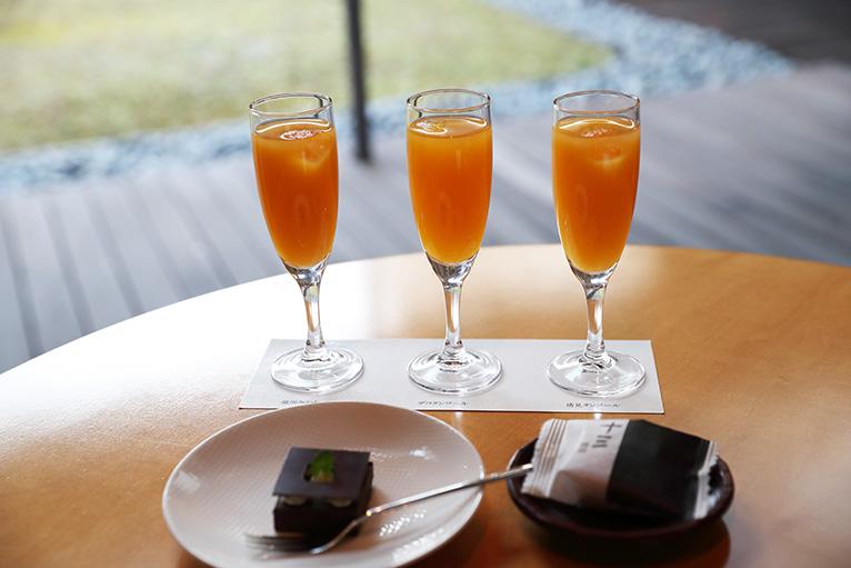 カフェ・タンポポの愛媛みかんジュース飲み比べセット、記念館の形を模したチョコレートケーキと十三饅頭